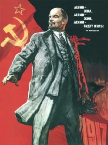 Vintage Russian poster - Lenin lived, Lenin lives, and Lenin will go on living! 1967